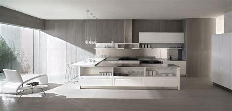 Concrete walls white kitchen interior design ideas