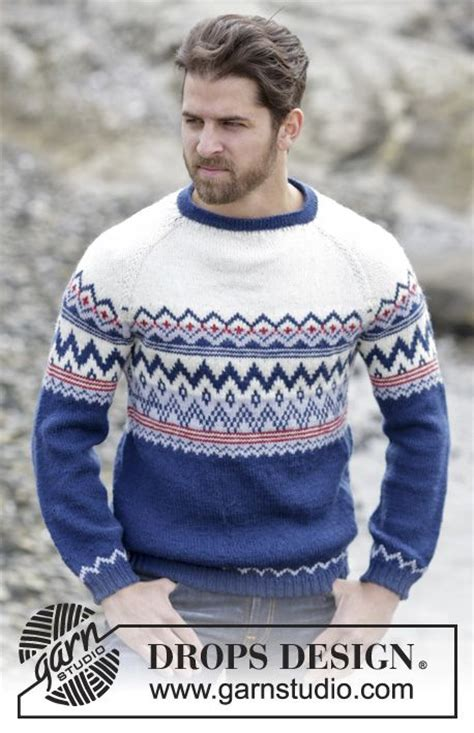 free knitting pattern raglan jumper knit jumper for men with raglan and norwegian pattern