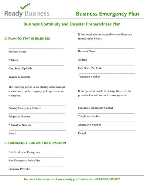 Business Disaster Plan Template ready gov sle disaster planning template