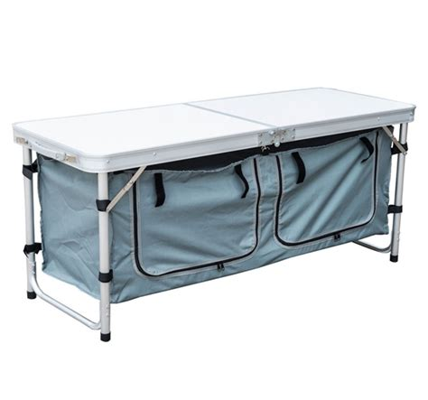 Folding Table With Storage 48 Quot Outdoor Portable Aluminum Cing Picnic Folding Table W Storage Organizer Ebay