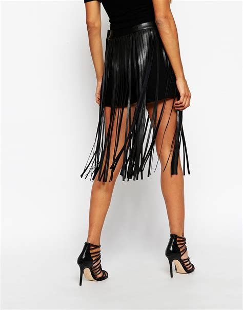 Miss Hotty Highwaist Fringe Black asos fringe skirt in leather look in black lyst