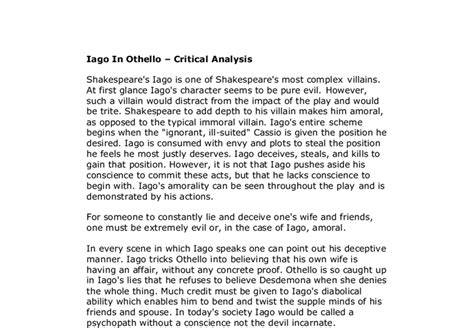 Critical Essay On Othello by Iago In Othello Critical Analysis Gcse Marked By Teachers