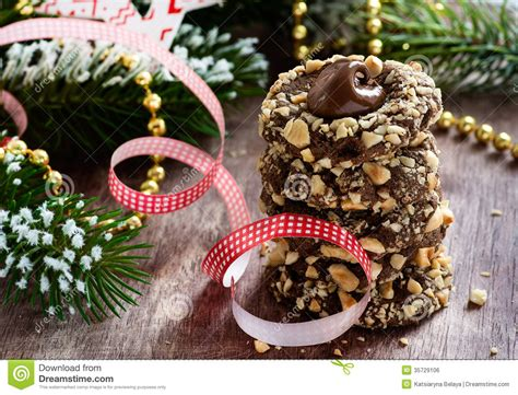 festive decorations chocolate filled cookies with hazelnuts festive
