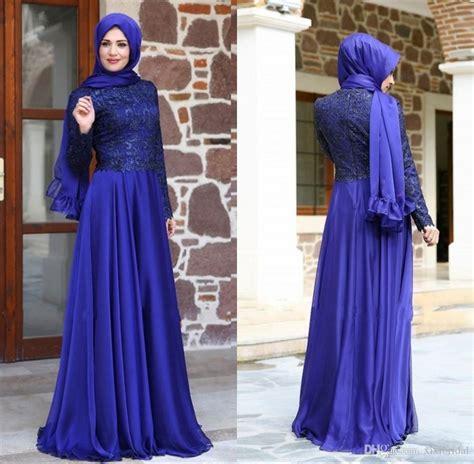 Newest Turkish Muslim Evening Dresses Hijab Long Sleeves