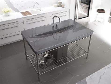 Prep Sinks For Kitchen Islands Kohler K 6417 2 G9 Iron Occasions Island Integrated Top And Bar Prep Sink With T Contemporary