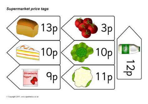 supermarket price tags amounts  p sb sparklebox