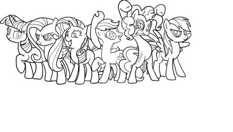 My Little Pony Mane Six Coloring Pages | mane 6 coloring pages mlp mane lineart by mlpanimelover