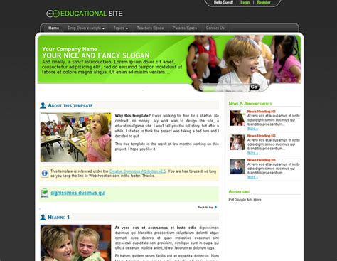 free css templates for educational websites top 10 useful web design tricks and free templates for