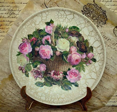 Decoupage Plate - decoupage plates with their master classes and 50