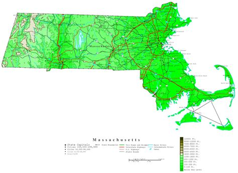 map massachusetts massachusetts contour map