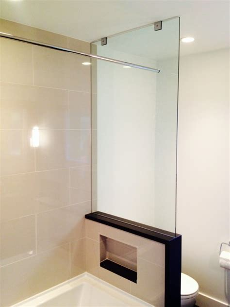 Bathroom Shower Glass Walls Tub End Wall Glass Panel Showers Greater Vancouver Contemporary Bathroom Vancouver By
