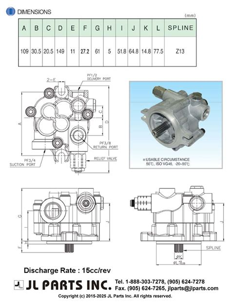 L Parts by Jl Parts Inc External Drain Type Cw For Rear Side Pto