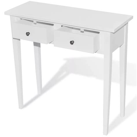 white console table white dressing console table with two drawers vidaxl com