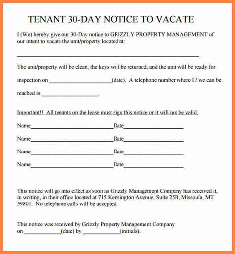 template for 30 day notice to landlord 9 30 day notice to vacate letter template notice letter