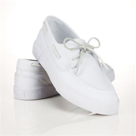polo boat shoes white polo ralph lauren sander boat shoe in white for men lyst