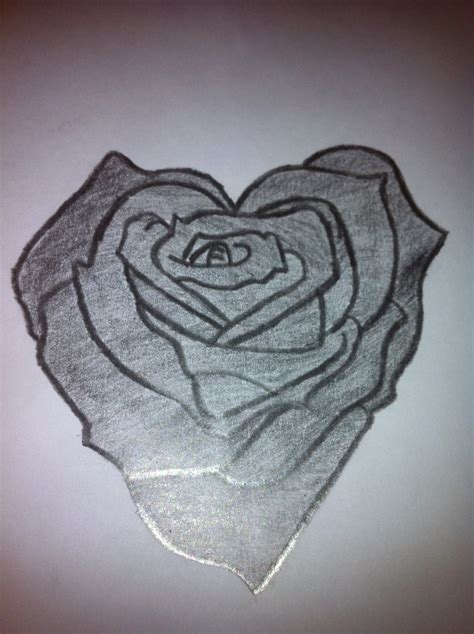 heart rose tattoo pencil drawings of hearts shaped drawing