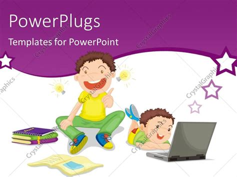 powerpoint template two kids studying with books and