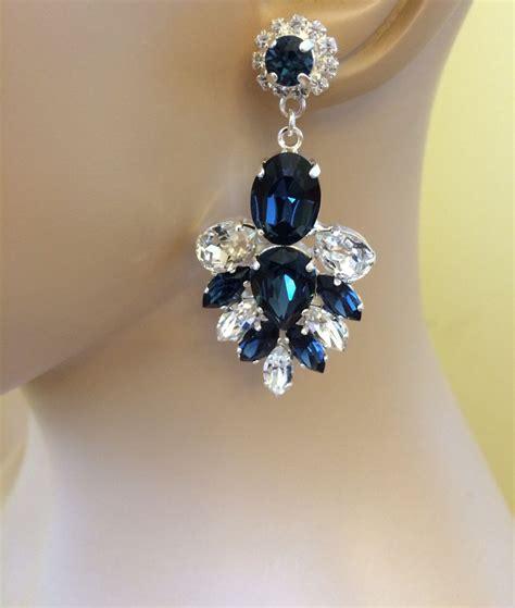 Crystal And Pearl Chandelier Earrings Navy Blue Swarovski Crystal Statement Dangle Earrings