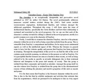 Essay Topics For The Outsiders by The Outsiders Novel Essay A Level Business Studies Marked By Teachers