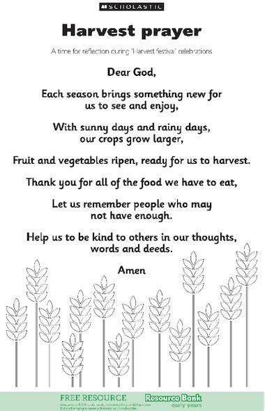 harvest thanksgiving prayers harvest prayer free early years teaching resource