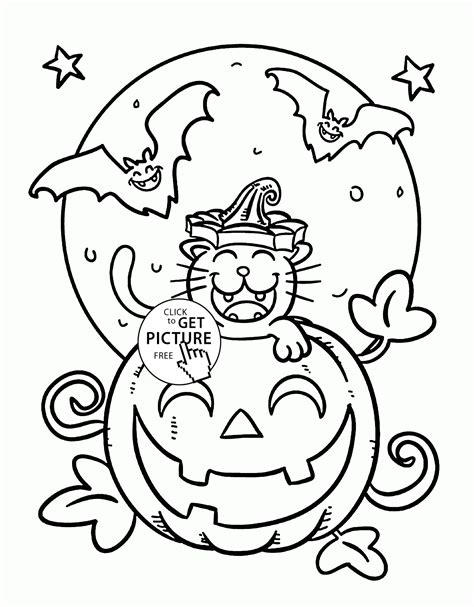 bats and pumpkins coloring pages related keywords suggestions for halloween cat coloring
