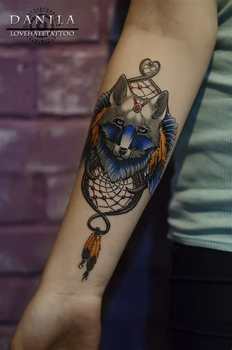 dreamcatcher lower arm tattoo 57 wolf tattoo designs for men and women with meaning