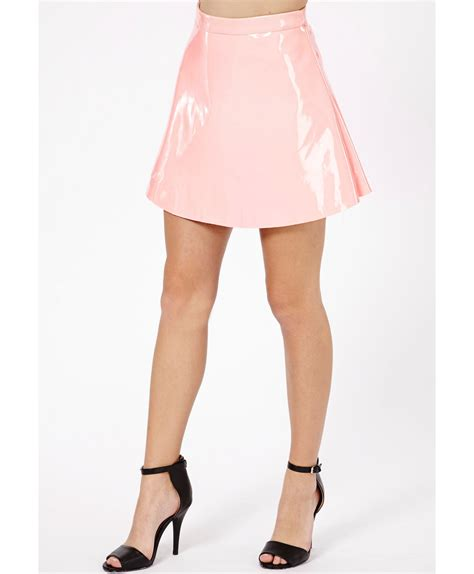 Baby Avail Pink Skirt missguided milusia pvc skater skirt in baby pink in pink lyst