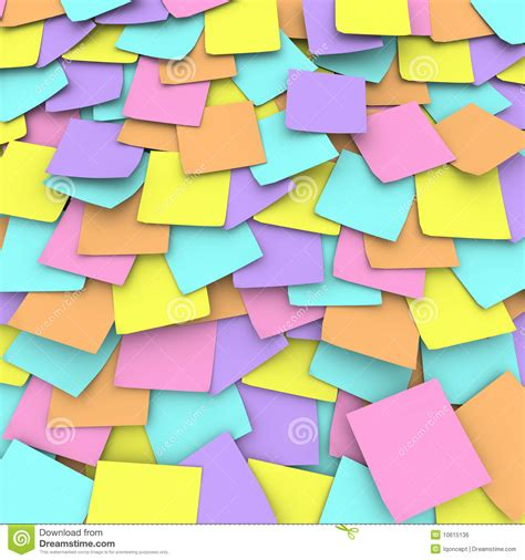 Post It Note Memo Sticky Stick Notes Pastel Rainbow Color colored sticky note background collage royalty free stock