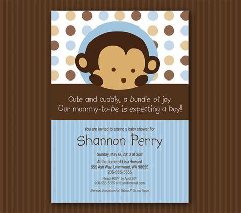 Monkey Baby Shower Invites by Blue Monkey Baby Shower Invitation Matches Mod Pod Pop Monkey