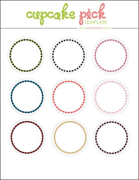Kate Free Digital Cupcake Pick Topper Template Printables Pinterest Template Free And Cake Edible Label Template