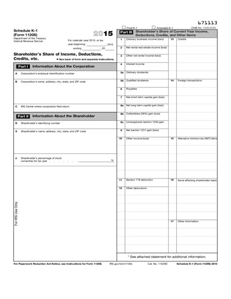 one schedule form 1120 s schedule k 1 shareholder s of income deductions credits etc