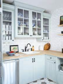 Light Blue Kitchen Cabinets Photo Gallery Affordable Home Reno Tips Kitchen Cabinets Cabinets And Butcher Block Counters