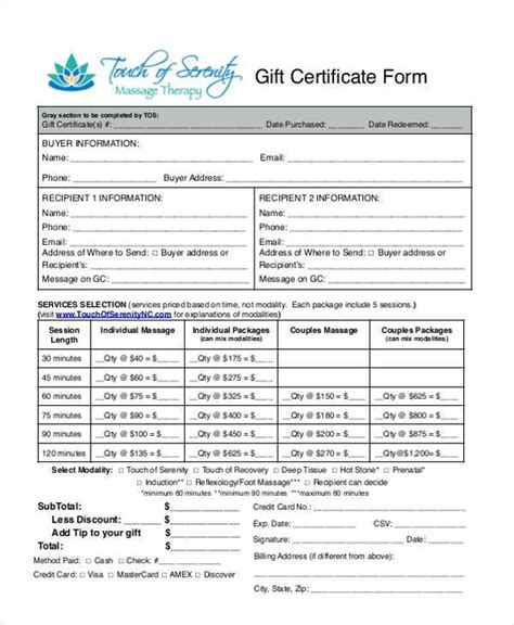 Free Gift Card Forms Template by Certificate Form Templates