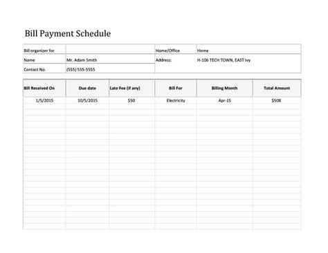 33 Great Payment Plan Schedule Templates Template Archive Pay Template