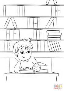 boy reading coloring page cute little boy reading a book at the library coloring