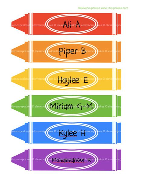 crayon labels template school crayon labels crayon name tags school lockers by