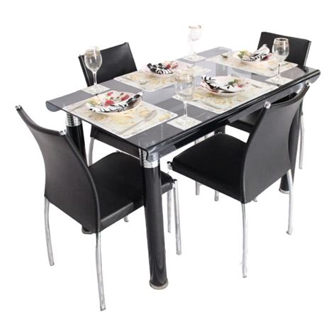 bent 4 seater glass top dining table set woodys furniture