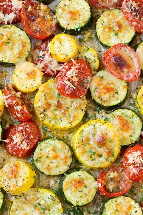roasted garlic parmesan zucchini squash  tomatoes