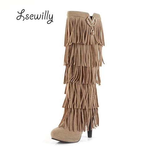 Winter Shoes Top Shoes With Fringe Tassels And Ruffles by Lsewilly New Flock Winter Boots High Heels The