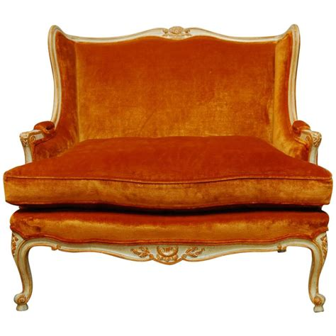 wingback settee french louis xv velvet wingback loveseat settee at 1stdibs