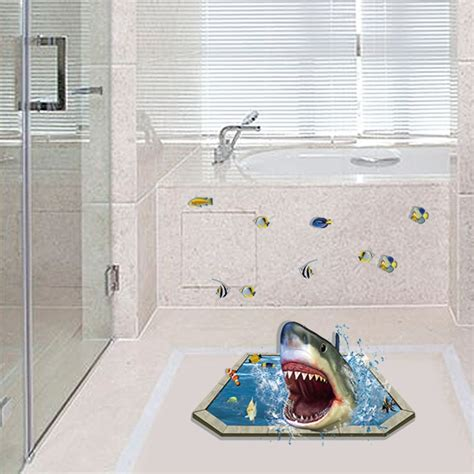 Bathtub Floor Stickers by Aliexpress Buy Removable Creative 3d Effect Shark