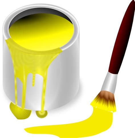 yellow paint yellow paint with paint brush clip art at clker com