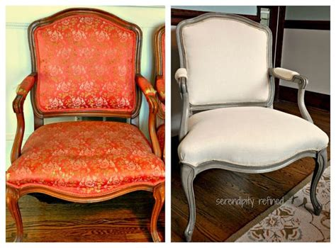 louis side chair chalk paint and linen fabric makeover by serendipity refined diy