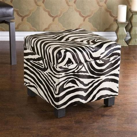 Brown Zebra Ottoman Upton Home Zebra Faux Leather Storage Ottoman Free Shipping Today Overstock 13097315