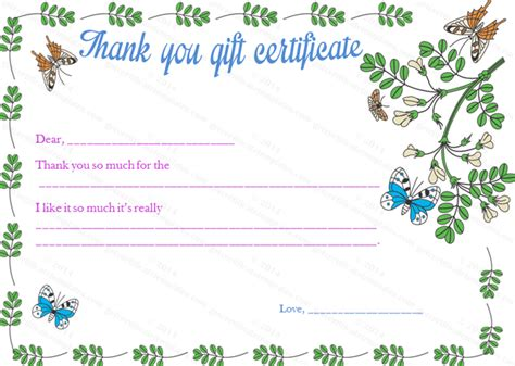 thank you letter gift voucher thankyou gift certificate template