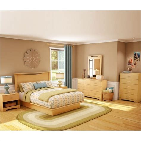 natural wood bedroom sets south shore copley wood panel headboard 4 piece bedroom set in natural maple 3113pkg