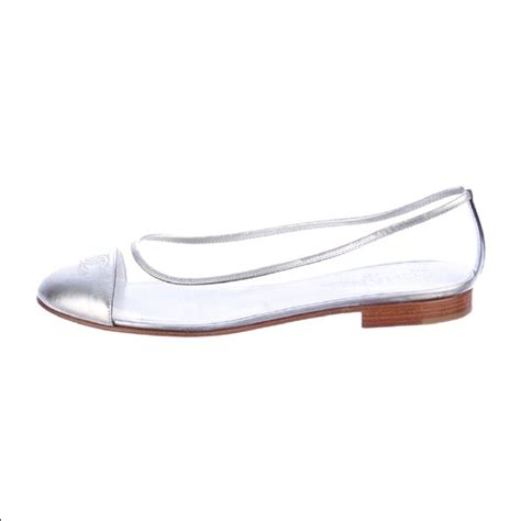 clear flats shoes 59 chanel shoes chanel cc logo cap toe clear