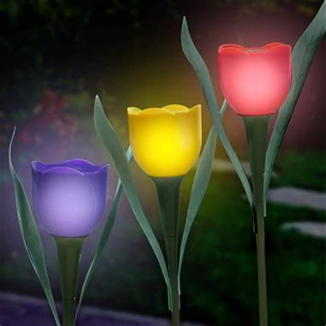 solar tulip lights decorative solar powered tulips envirogadget