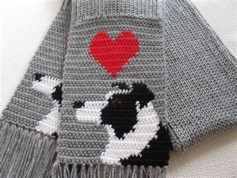 border collie scarf grey crochet and knit scarf with border