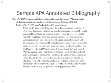 annotated bibliography template apa the wonderful world of annotated bibliographies ppt